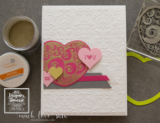 Clean and pretty Valentine/Love-themed handmade card.  The Clean white embossed background sets a simple stage for the fun mix of stamped hearts.  Using Fun Stampers Journey Coils & Curls, and Text Happy Stamp Set | muchlovesara.com