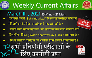 Weekly Current Affairs ( March III , 2021 )