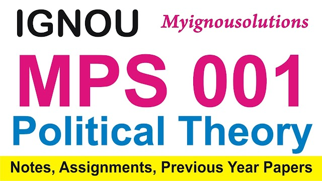 MPS  001 Political Theory