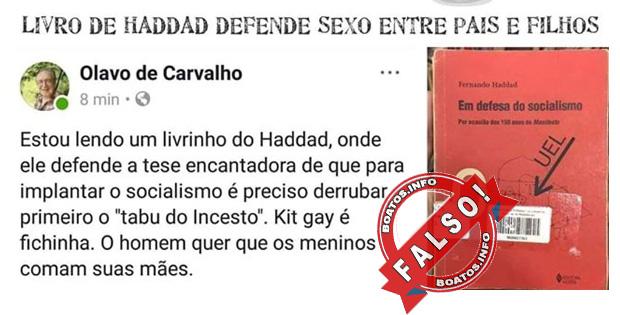Fake News - Haddad defende o incesto em seu livro