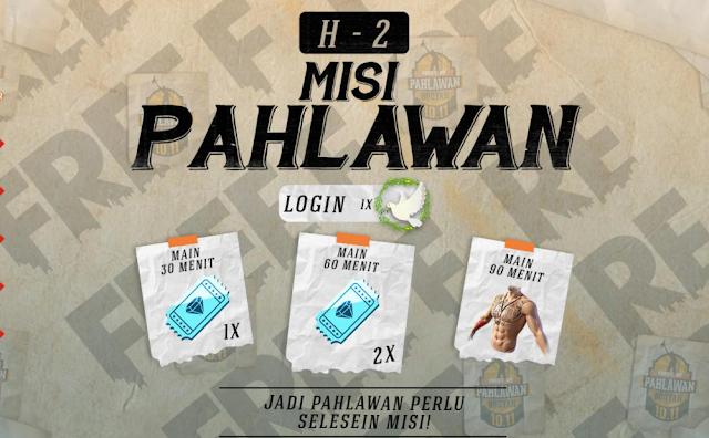 Misi Event Pahlawan Booyah H-2 Peak Day Free Fire Bundle Gratis Full Arm Tato