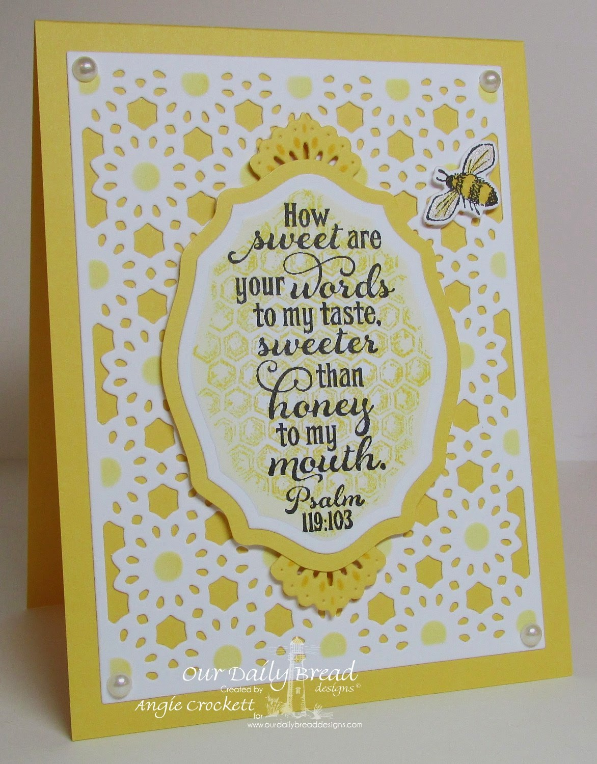 ODBD Sweeter Than Honey, Honeycomb Mini, Bee Happy, ODBD Elegant Oval Dies, ODBD Custom Beautiful Borders Die Set, ODBD Daisy Chain Background Die, Card Designer Angie Crockett