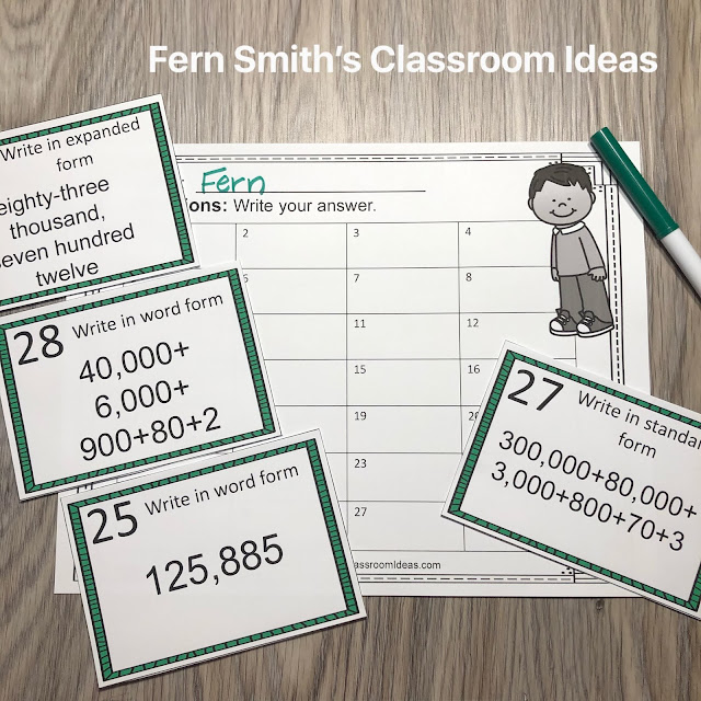 Click Here to Download This 4th Grade Go Math 1.2 Read and Write Numbers Task Cards Resource Today for Your Class!