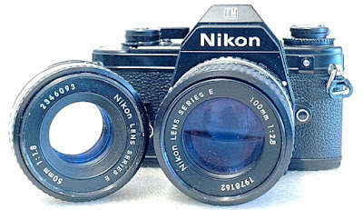 Nikon EM, Nikon Series E 100mm F2.8, Nikon Series E 50mm F1.8