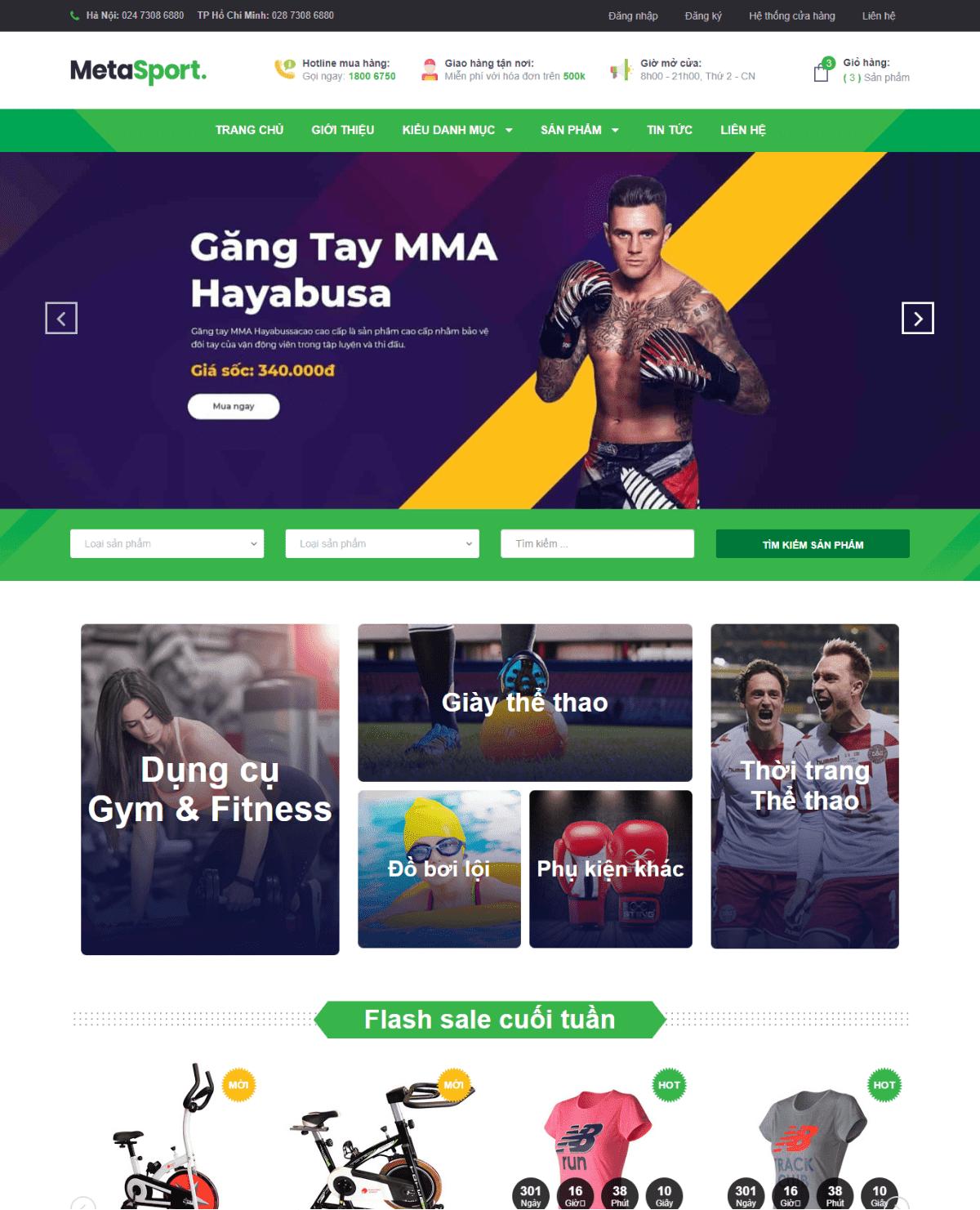 Template blogspot bán hàng dụng cụ thể thao
