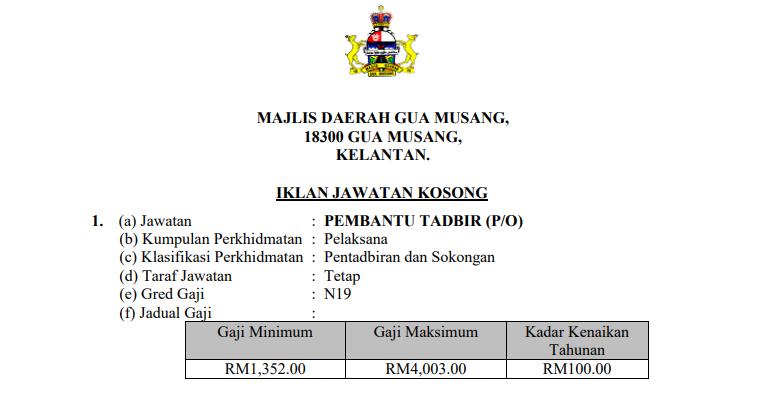 Jawatan Kosong di Majlis Daerah Gua Musang MDGM