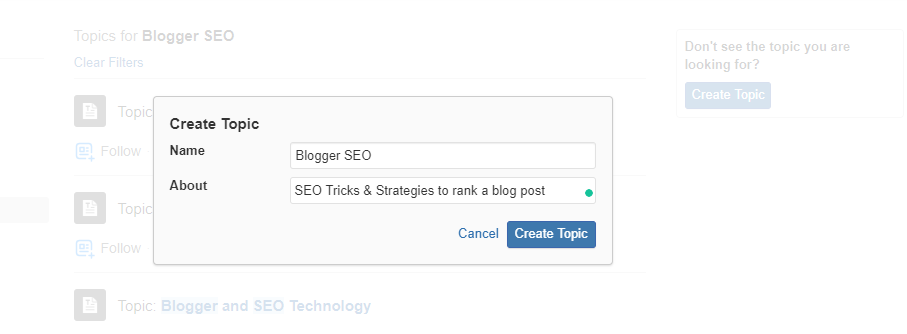 create a topic for your brand on Quora