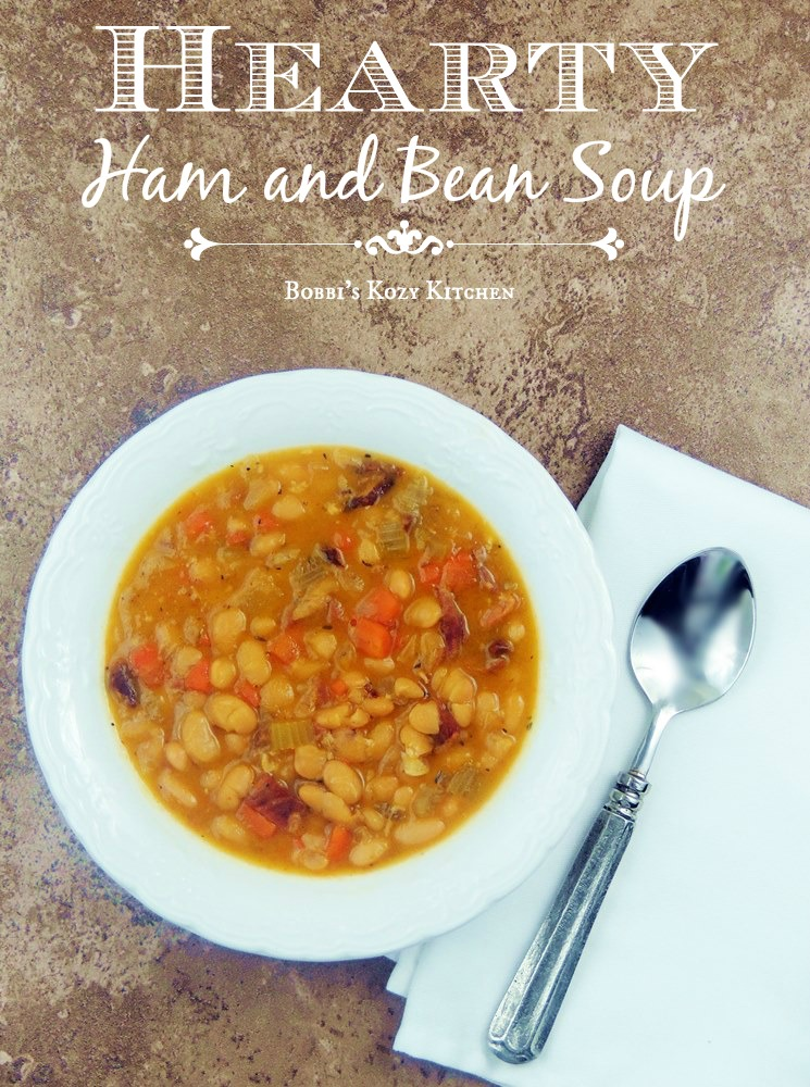 This Ham and Bean Soup recipe is so easy to make and is guaranteed to chase away those winter blues and warm you from head to toe! #ham #beans #soup #onepot #kidfriendly #easy #recipe | bobbiskozykitchen.com