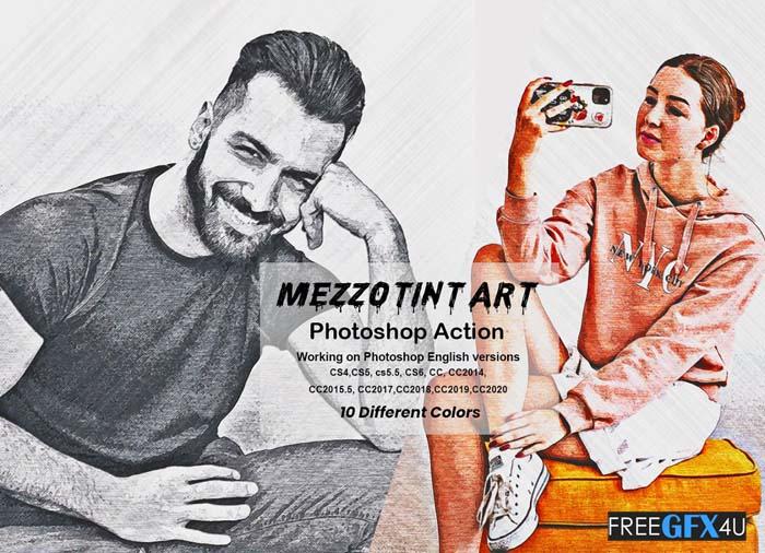 Mezzotint Art Photoshop Action