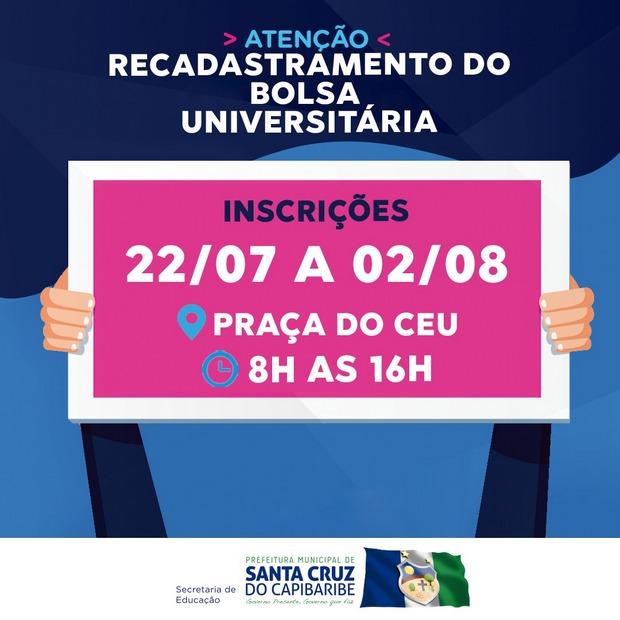 Edital para recadastramento no programa Bolsa Universitária é lançado em Santa Cruz do Capibaribe