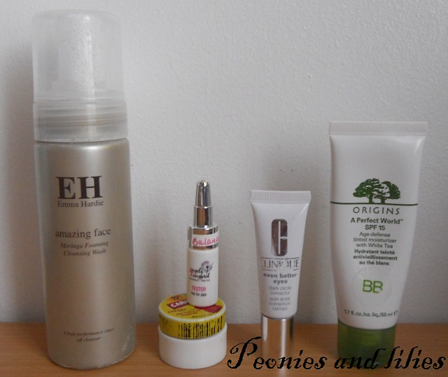 Emma Hardie moringa foaming cleansing wash, Angela Langford balanced and beautiful face oil,  Clinique even better dark circle corrector, rigins a perfect world tinted moisturiser, Carmex cherry lip balm, Origins BB cream, Skincare routine, Skincare, Review