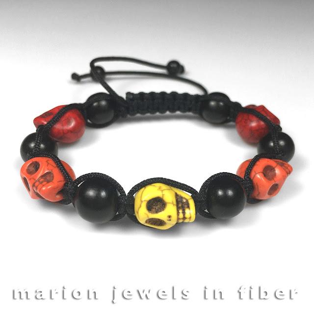 Calavera Skull beads shambhala bracelet - DIY Tutorial