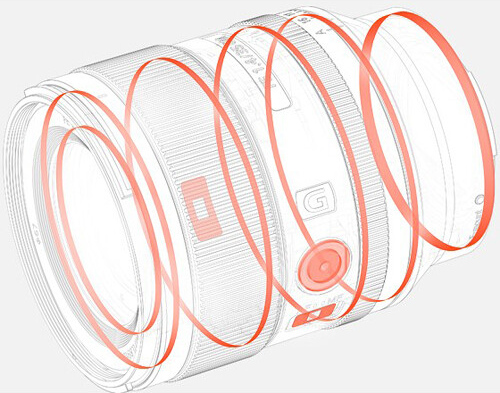 Уплотнители внутри корпуса объектива Sony FE 35mm f/1.4 GM