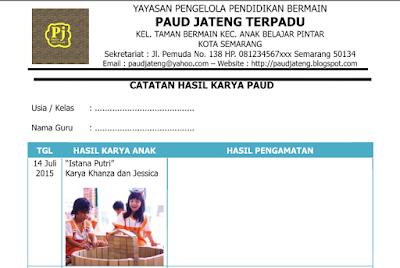 Contoh Catatan Hasil Karya Anak Penilaian PAUD K-13 Lengkap Terbaru 2016