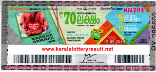 Kerala Lottery Result 12.9.19 Karunya Plus- KN-281