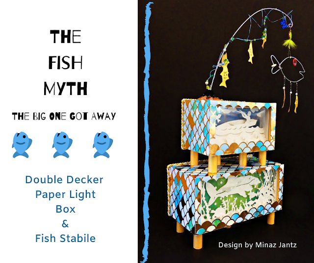The Fish Myth: The Big One Got Away. Lightbox & Fish Stabile by Minaz Jantz