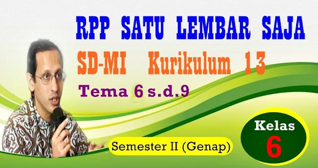 DOWNLOAD RPP SATU LEMBAR SD/MI KURIKULUM 2013 KELAS 6 (ENAM) SEMESTER  II - GENAP - REVISI