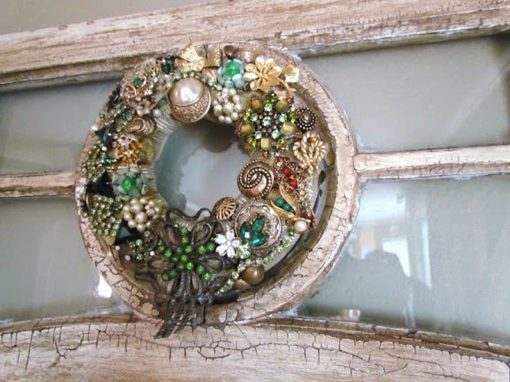 wreath made with vintage jewelry