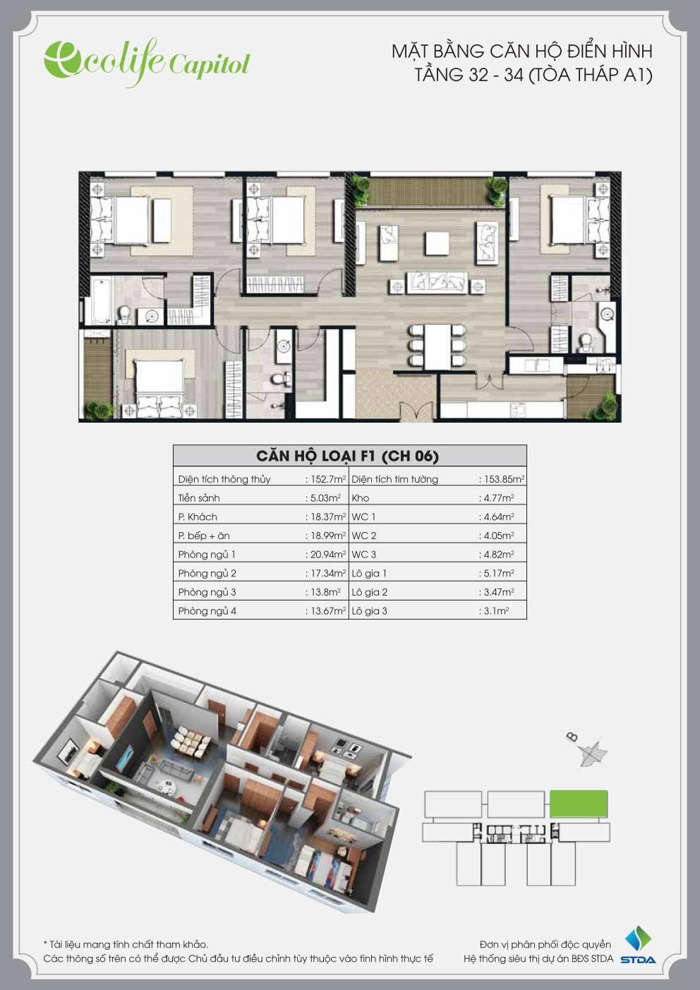 Thiết kế mặt bằng căn hộ F1 (CH 06)