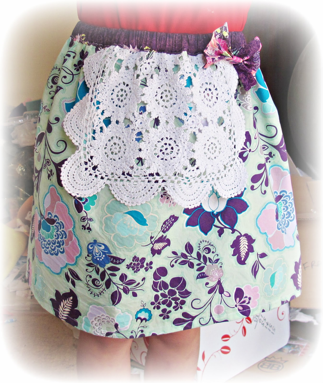 image doily apron bow skirt poetica fabric sweet melody aqua art gallery serenade moon light purple