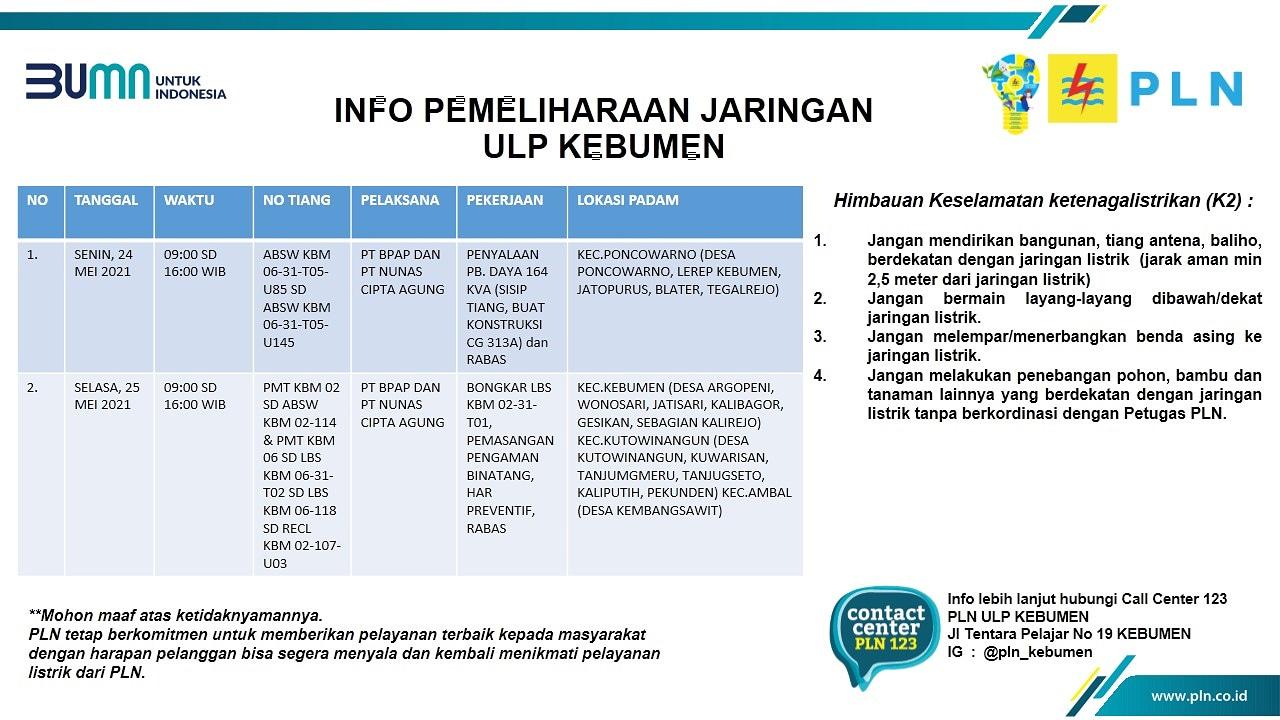 Ini Jadwal Pemadaman Listrik di Kebumen Selasa 25 Mei 2021