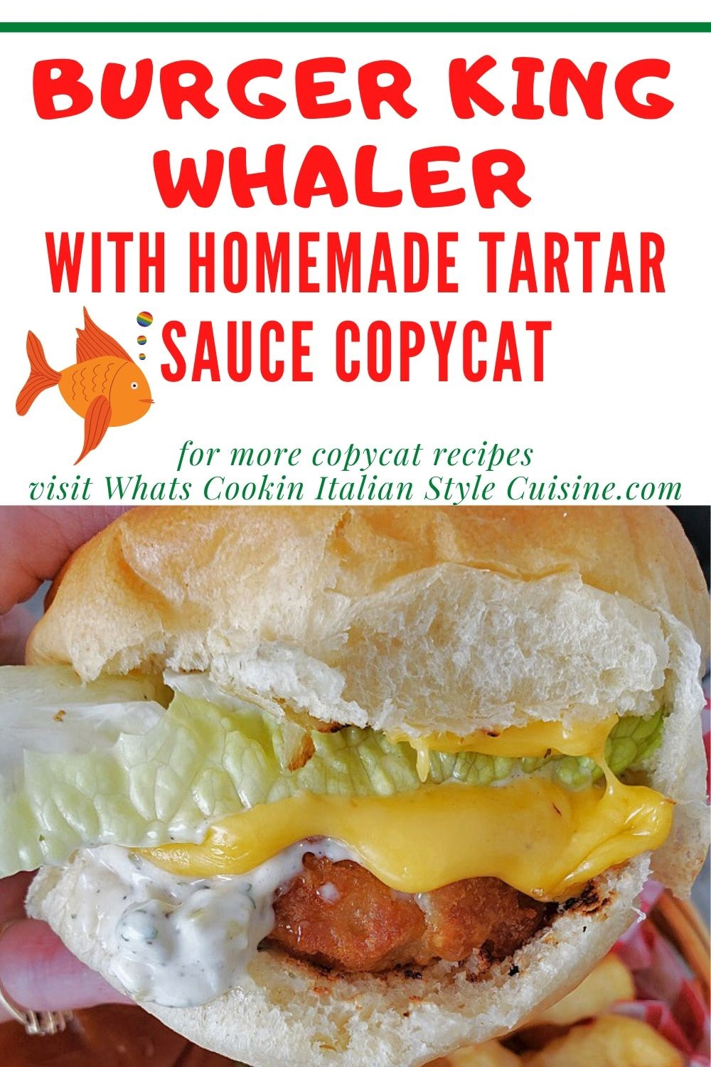 this is a pin for later for a copycat Whaler fish sandwich