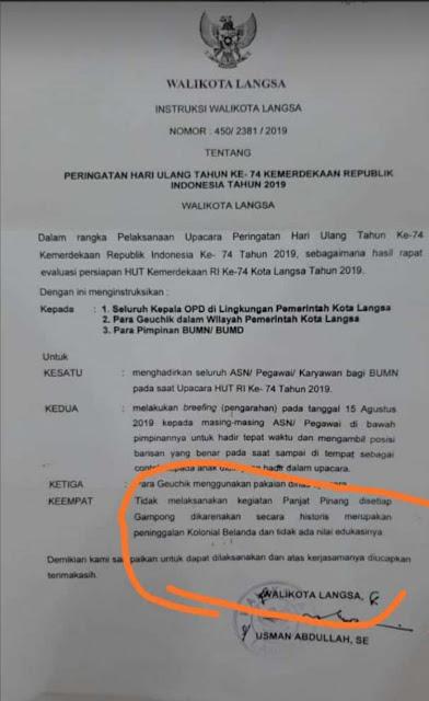 Surat Himbauan Walikota Langsa Larang Panjat Pinang