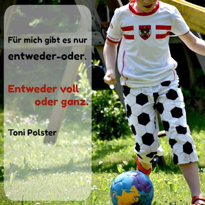 Kind im Österreich-Dress, Spruch von Toni Polster