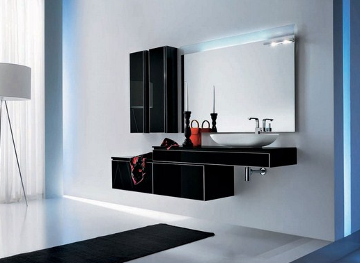 The color and shape of vanity cabinet is adapted to the interior of the room.
