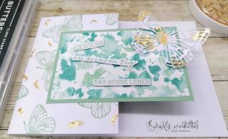 Produktpaket Butterfly Brilliance, Stempelset Beerenstark, Deko-Metallplättchen in Gold
