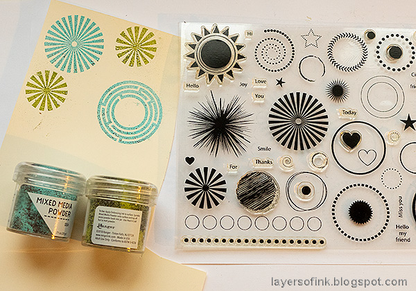 Layers of ink - Water Stenciling Video Tutorial by Anna-Karin Evaldsson. Stamp with Simon Says Stamp Mix and Match Circles.