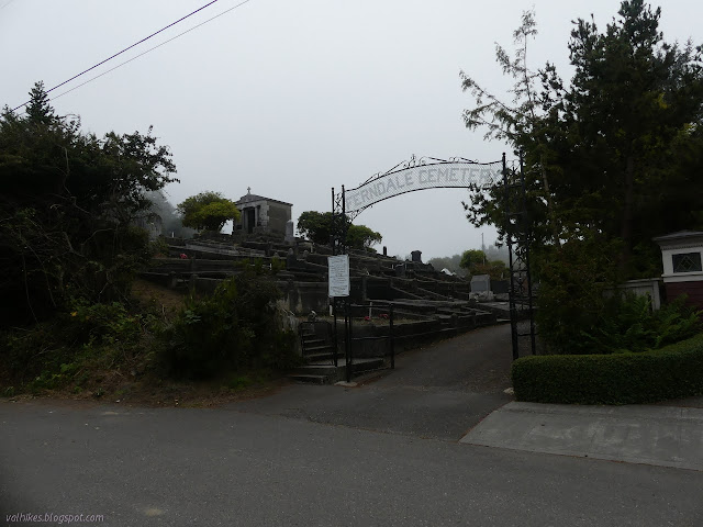 entry to Ferndale Cemetery has a metal arch saying so