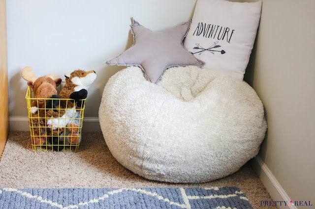 A soft beanbag for seating in a reading nook