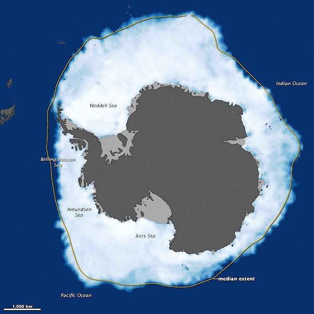 O gelo da Antártica está crescendo 1% cada década. A linha amarela indica a média da expansão invernal.
