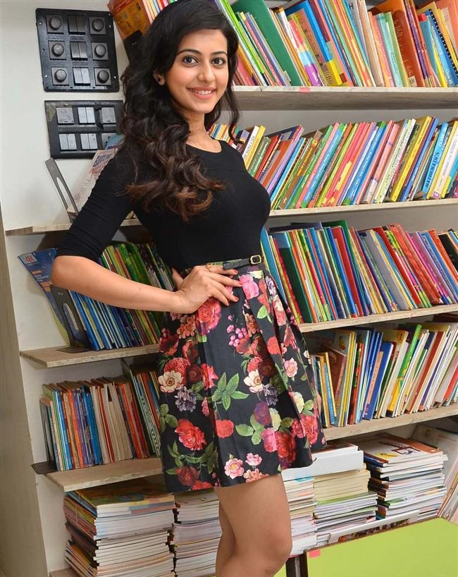 Rakul Preet Singh Long Legs Photos In Mini Blue Skirt