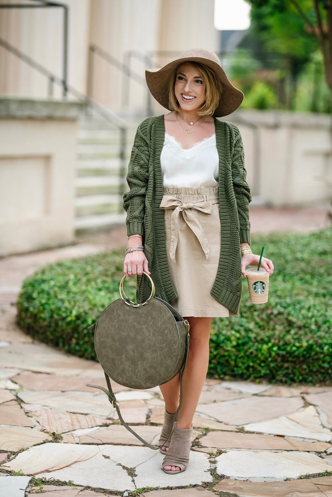 Twinning With My Starbucks Iced Coffee: $55 Paper Bag Waist Skirt & $48 Olive Green Cardigan - Something Delightful Blog