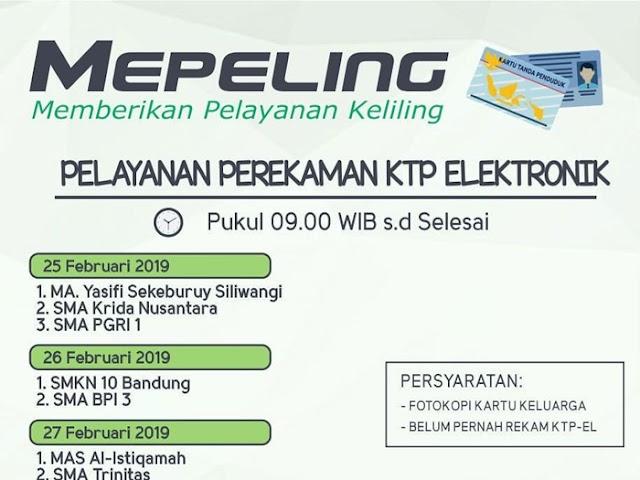 Jadwal Mepeling Perekaman e-KTP Disdukcapil Kota Bandung 25 - 28 Februari 2019