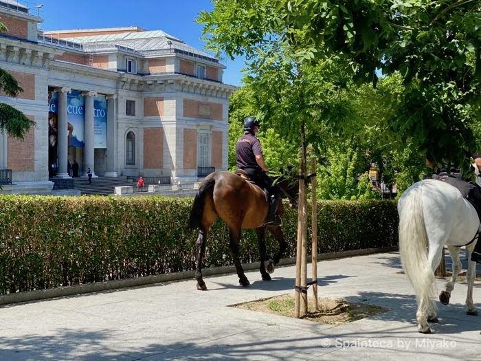 プラド美術館の周囲をパトロールする騎馬警官