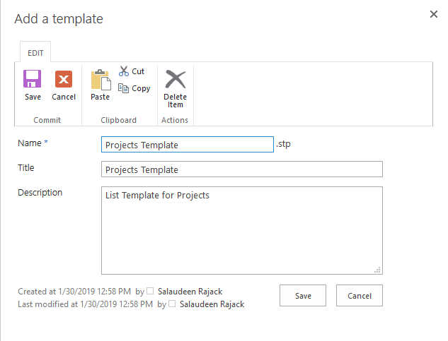 import list template to sharepoint online