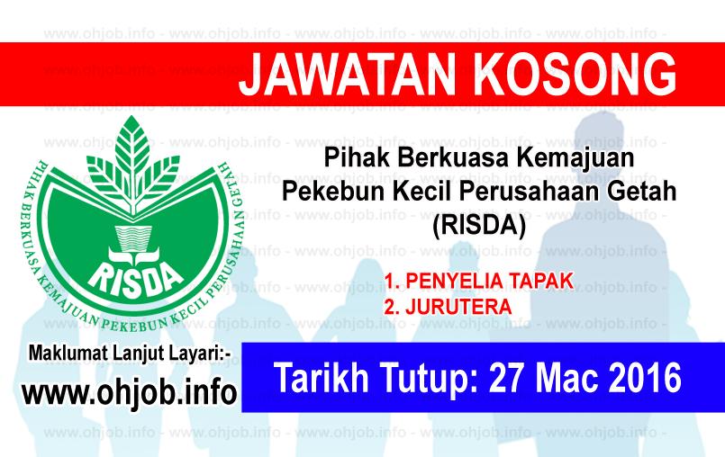 Jawatan Kerja Kosong Terkini RISDA logo www.ohjob.indo mac 2016