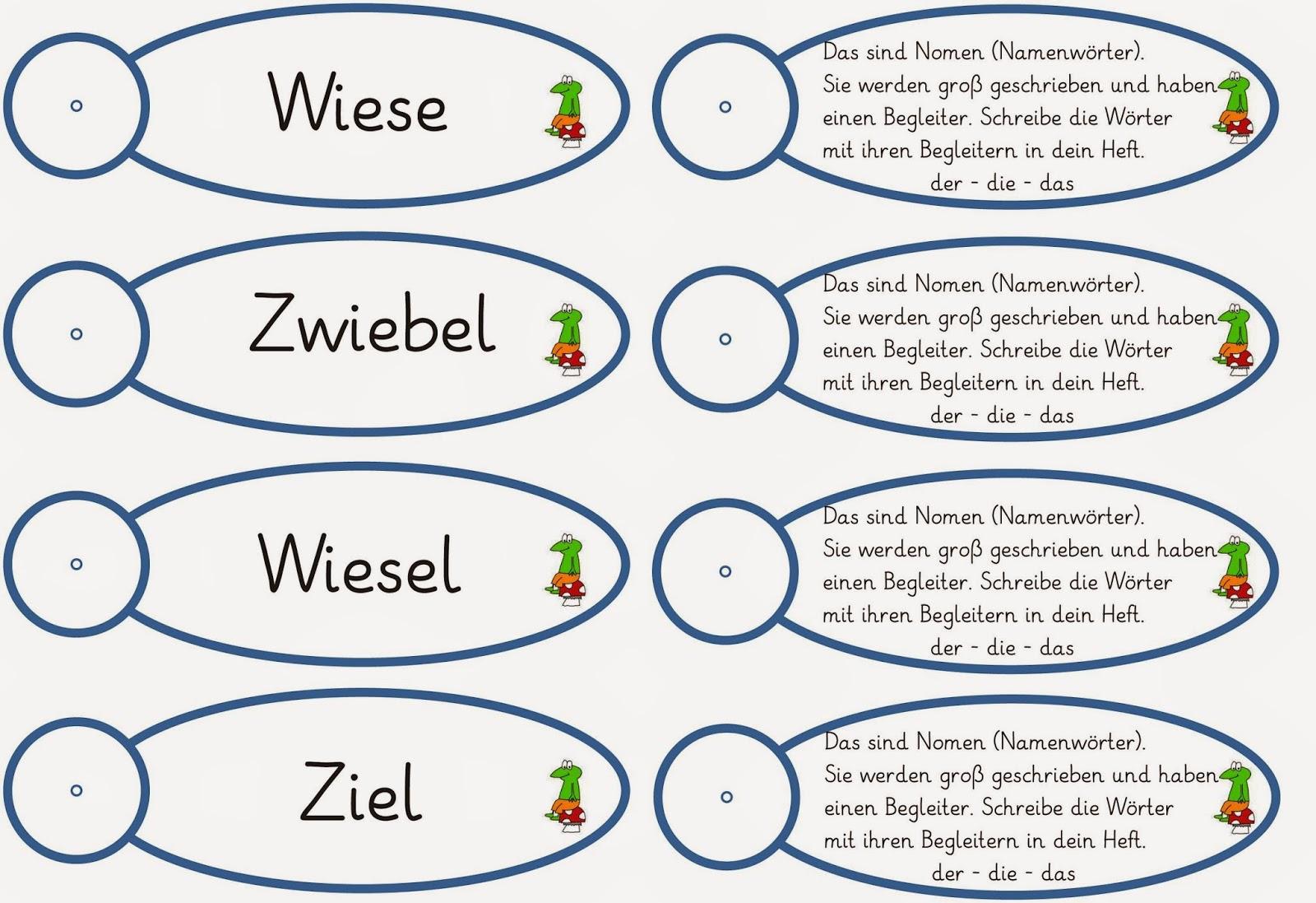 Lernstübchen: Nomenfächer mit ie-Wörtern