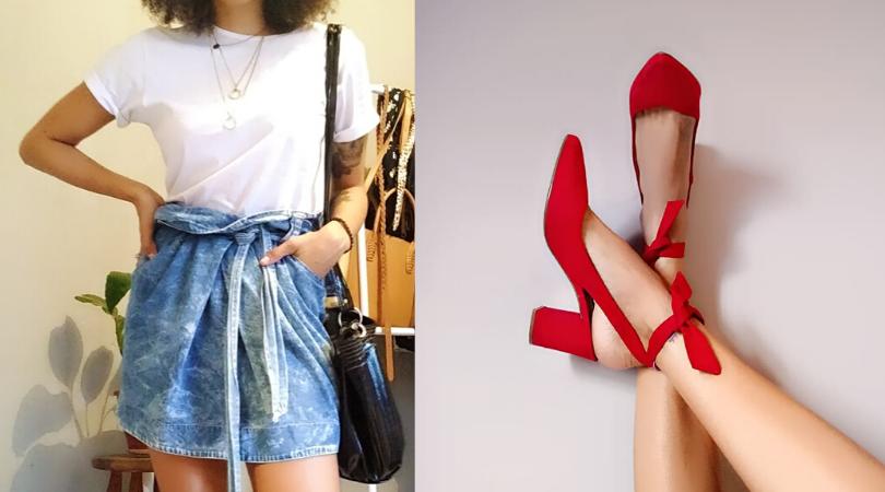 Look do Dia: Saia Clochard + T-Shirt Branca + Sapato Vermelho