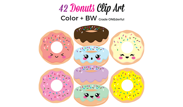 Kawaii Donuts Clipart