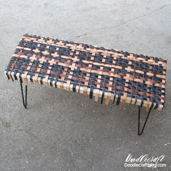 Make a unique bench using strips of leather woven together and hairpin legs to finish it off!