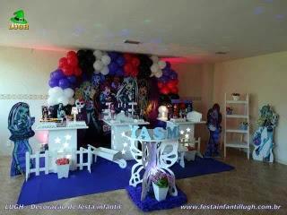 Decoração mesa de aniversário tema Monster High - Festa infantil - Barra - RJ