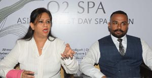 Anu Wahi from O2 Spa talking to media in Amritsar