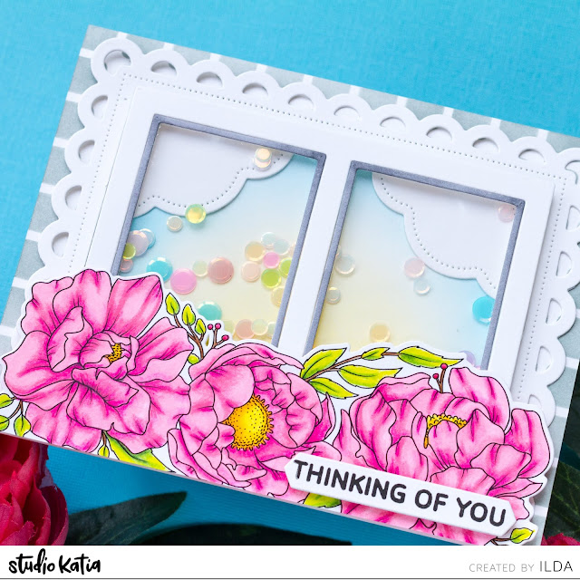 Peony Trimmings Window Shaker Scene Card | Studio Katia