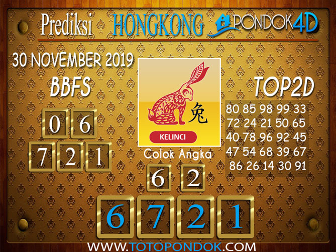 Prediksi Togel HONGKONG PONDOK4D 30 NOVEMBER 2019