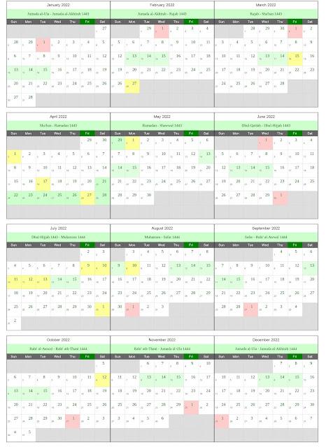 Download Kalender Hijriyah 2022 Lengkap JPG dan PDF