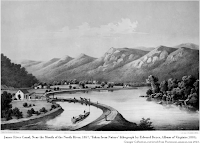 1857 lithograph, James River Canal, Near the Mouth of the North River, as 'Taken from Nature' by Edward Beyer, Album of Virginia (1858). Granger Collection, retrieved 2021 from Posterazzi, amazon.com.